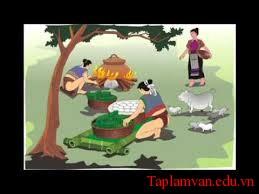 """Dựa vào truyền thuyết """"Bánh chưng, bánh giầy"""" em hãy tả lại cảnh gia đình Lang Liêu làm bánh"""